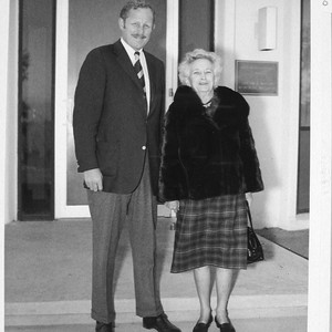 George Hale and Margaret Hale Scherer outside the Oscar G. Mayer memorial ...