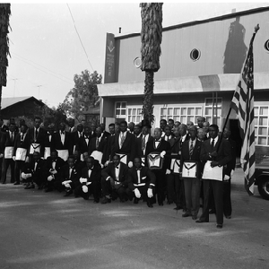 Group photograph of masons in front of Orange Valley Lodge #13 F. ...