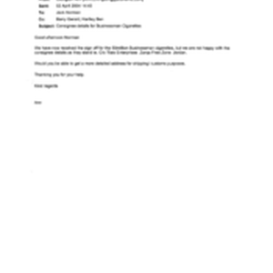 [Email from Elkinton Ann to Norman Jack regarding Consignee Details for Businessman ...