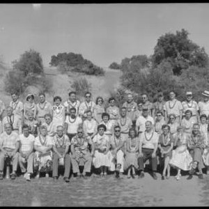 Group portrait of the attendees of the Collier Company barbeque