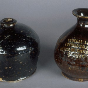 Jug, brown earthenware for brandy