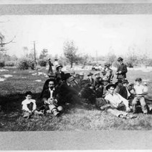 Unidentified group of people at old baseball park, below Columbia, possibly Fourth ...