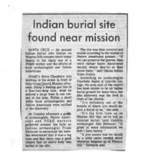 Indian burial site found near Mission