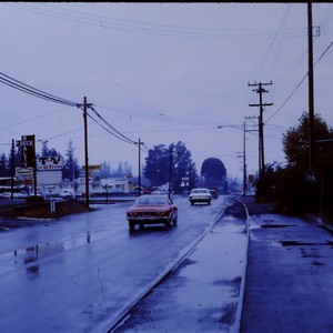 Gravenstein Highway South near Fircrest Market, looking north in Sebastopol, California, 1970
