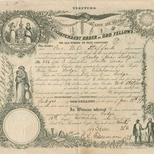 Independent Order of Odd Fellows certificate from the Santa Ana Lodge No. ...
