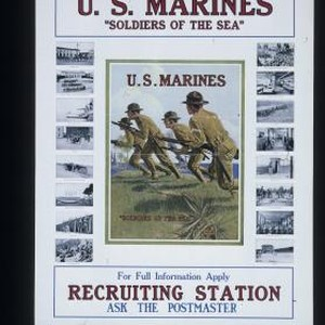 "U.S. Marines. ""Soldiers of the sea"" ... For full information apply recruiting ..."