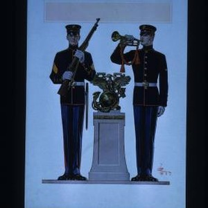 Poster depicting US Marines in dress uniform