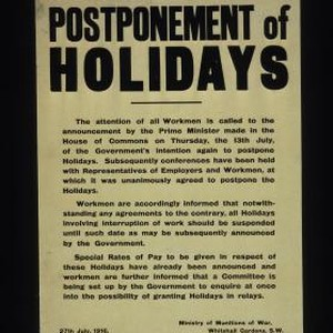 Postponement of holidays. The attention of all workmen is called to the ...