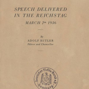 Speech delivered in the Reichstag; March 7th 1936