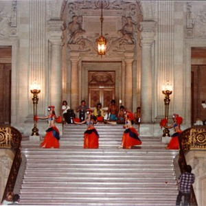 [Dancers performing on the main staircase of the Rotunda at City Hall]