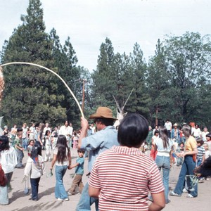 People participating in bear dance at the Janesville Bear Dance--1977