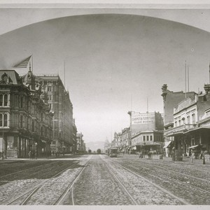 Market Street looking west from Sansome. Grand and Palace Hotel on left; ...