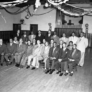 Group photograph of men in masonic hall