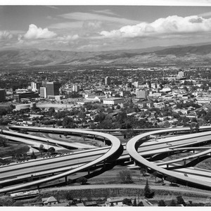 View of San Jose Highway 280 and 17 Interchange, Civic Auditorium and ...
