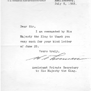 Assistant Private Secretary to the King of Denmark letter to Eric Berne, ...