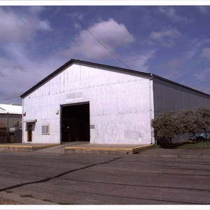 Warehouse with gatehouse at 419 First Street, Petaluma, California, Sept. 25, 2001