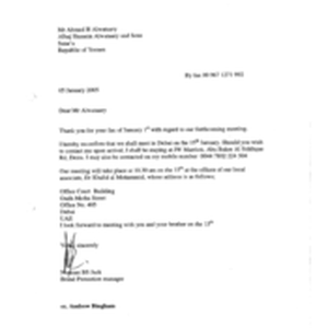 [Letter from Norman BS Jack to Ahmed H Alwataary regarding confirmation of ...