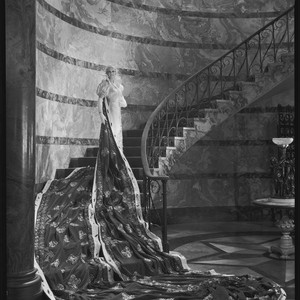 "Peggy Hamilton modeling a Max Rée gown as ""Queen Olympia,"" 1931"