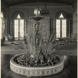 [Interior detail view fountain in hotel lobby]