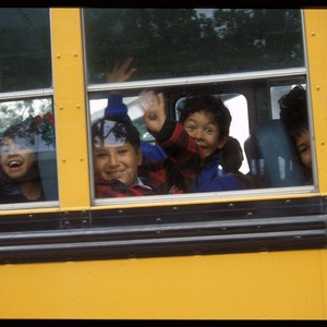 Children Leaving on School Bus