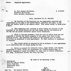 Adjutant General letter to Eric Berne, 1943-04-08