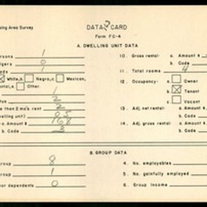 WPA Low income housing area survey data card 163, serial 24781