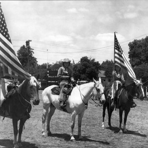 Three members of California Centaurs mounted junior drill team at the Boyes ...