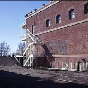 Old Sacramento. View of the Morse Building during restoration on the east ...