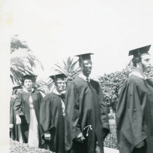 Carroll Pitts, Jr. in graduation procession at George Pepperdine College