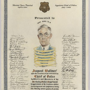 Certificate presented to August Vollmer upon his retirement as Chief of Police ...