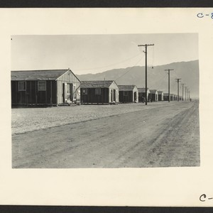 Manzanar, Calif.--Street scene of barrack homes at this War Relocation Authority center ...