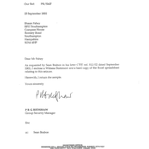 [Letter from PRG Redshaw to Shaun Fahey regarding enclosure of a witness ...