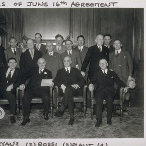 Signers of June 16th agreement. Seated: [1] Ryan ? [2] Mayor Angelo ...