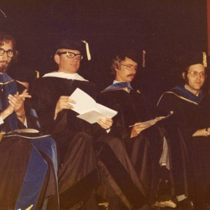Los Angeles Campus Faculty at Commencement--L to R: Dr. Truman Clark, Unknown, ...