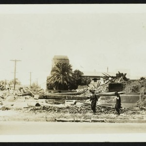 Leveled building, damage from the 1933 earthquake