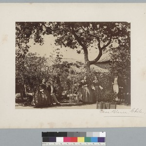 """Casa Blanca, Chile,"" group of 3 women and 3 men under trees. ..."