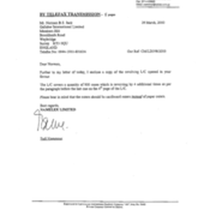 [Letter from Fadi Nammour to Norman BS Jack regarding copy of revolving ...