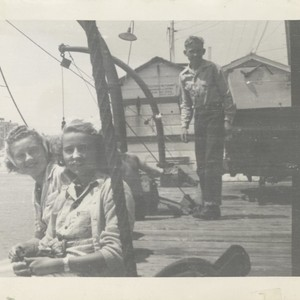 Joan Porter, Virginia Horner, unidentified, and Macy on wharf