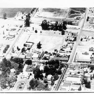 Aerial view of Sonoma Plaza and surrounding area