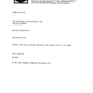 [Letter from Rajesh to Sue Schiavetta regarding stocklist]