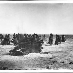 Funeral pyre of dead Mojave Indian chief, Sistuma, ca.1902