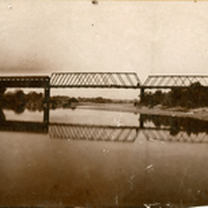 Looking down stream upper Oroville & Thermalito county bridge taken about 1889. ...