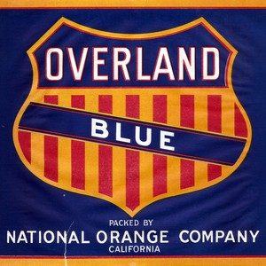 "Crate label, ""Overland Blue."" Packed by National Orange Company. Riverside, Calif"