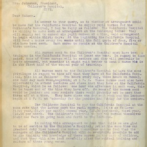Letter from Walter Lindley to the president of Children's Hospital