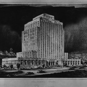 Architectural drawing of the new Los Angeles County Court House, 1938