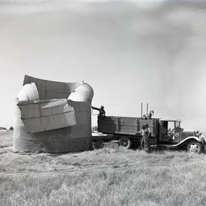 Workers preparing for construction of Hoag Memorial Hospital, Newport Beach, California: Photograph