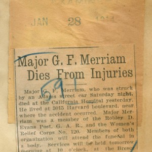 Major G. F. Merriam dies from injuries