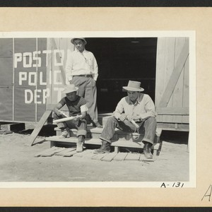 Poston, Ariz.--Members of the police department carving clubs at this War Relocation ...
