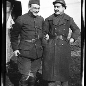 Two soldiers linking their arms in France during World War I, ca.1916