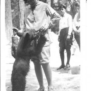 Bunni Cornelia E. Myers with bear cub, circa 1925